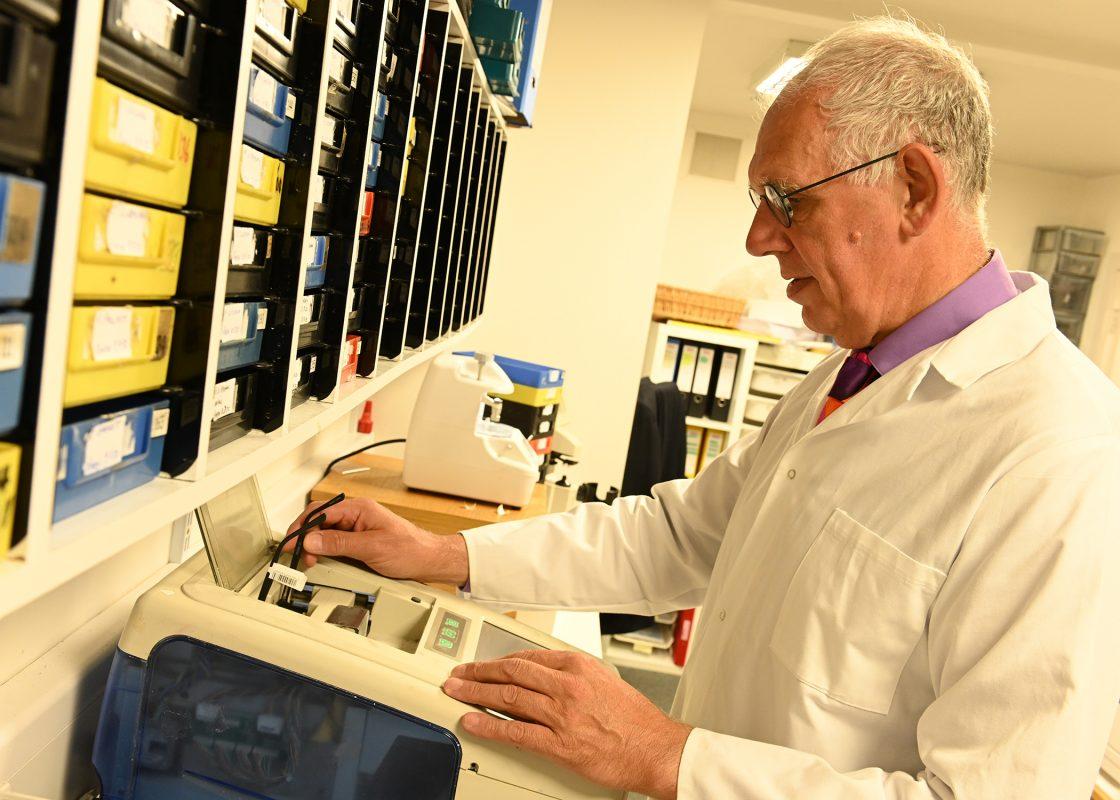 Conor Crowley in the lab